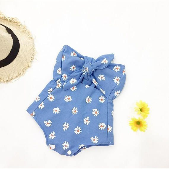 7eee22974 Girl Summer Romper, Baby Girl, Romper, Girls Outfit, Cake Smash Outfit, Girl  Baby shower gift, Baby girl, playsuit, Handmade, daisy, bow