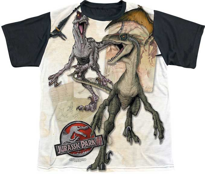 POLYESTER - DINO DRAWINGS YOUTH BLACK BACK DYE SUBLIMATION TEE
