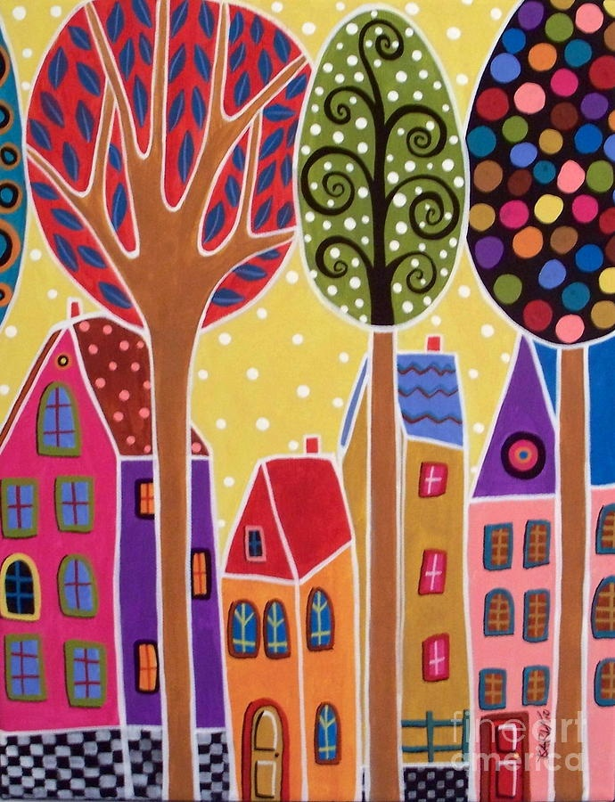 Four Houses And Trees Painting