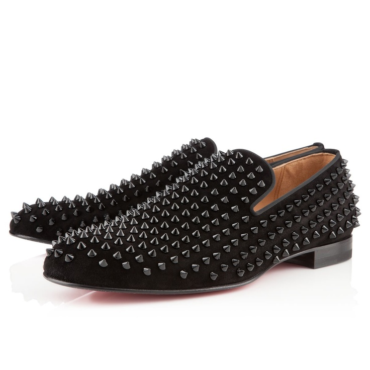 Christian Louboutin black suede studded shoes.