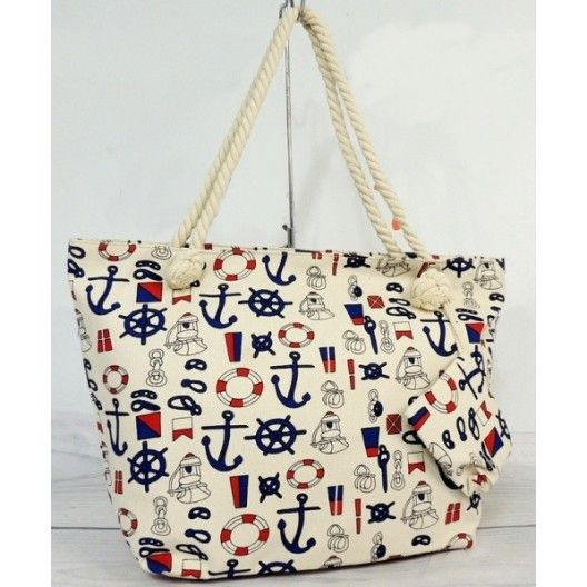 Dámska plážová kabelka s námorníckym motívom - fashionday.eu
