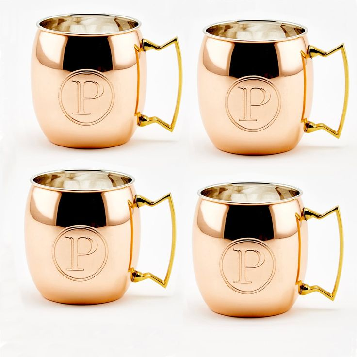 Initial Letter P Solid Copper Moscow Mule Mugs, Set Of 4