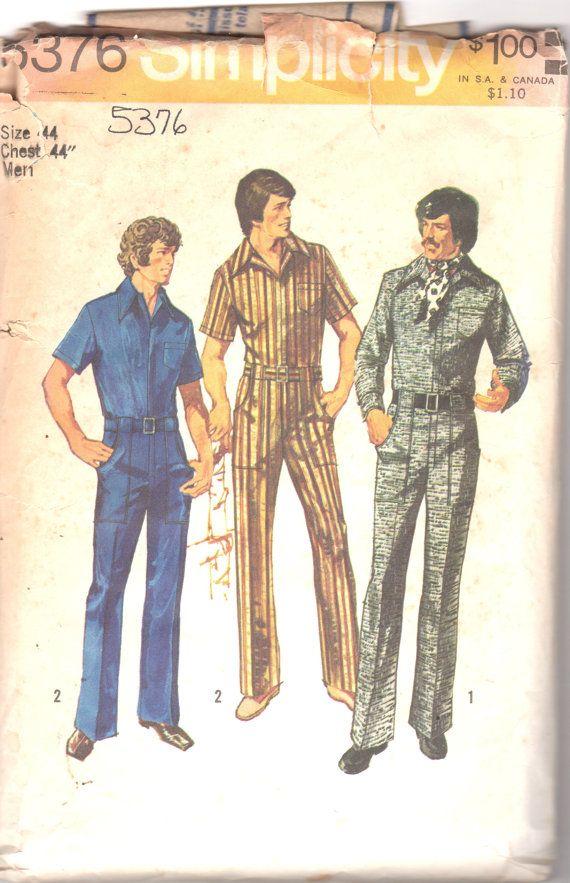 Simplicity 5376 1970s Mens Zip Front Jumpsuit Overalls