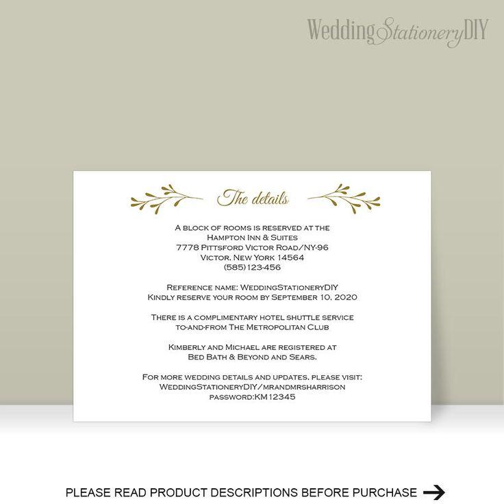 botanical Wedding information card  reception card  printable   wedding  Instant download  Editable color, text,   size, print at home  F17 by WeddingstationeryDIY on Etsy