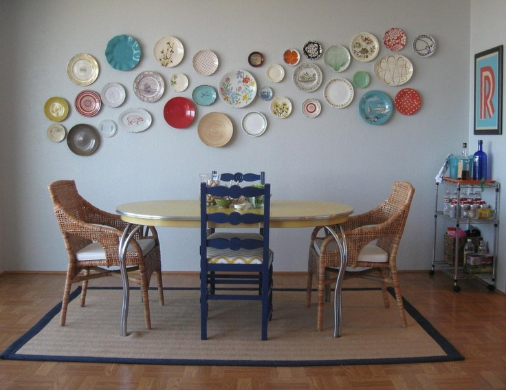 Love the vintage feel and plate wall