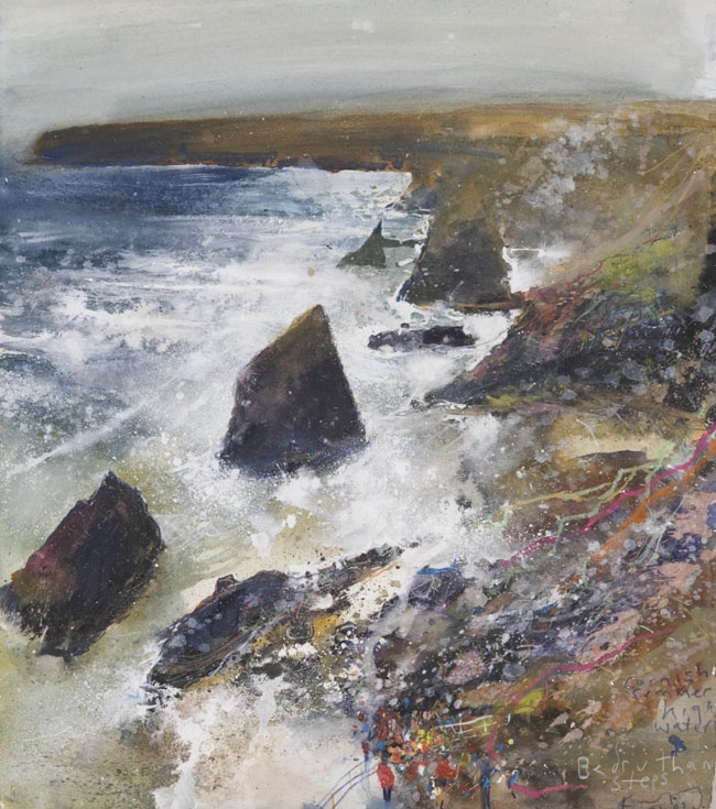 kurt jackson - Cornish summer, high water Bedruthan Steps July 2009