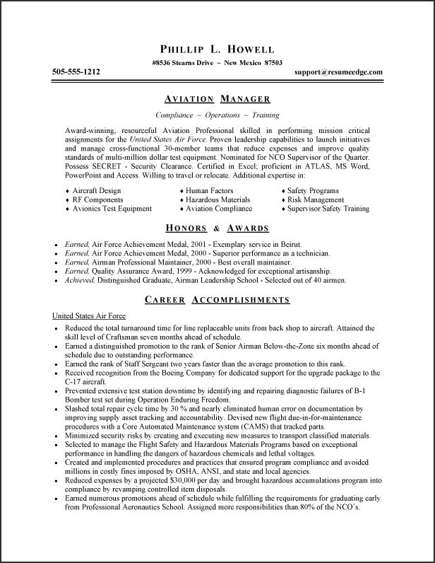 resume army retired person