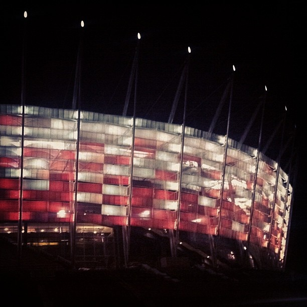 #Euro2012 Warsaw National Stadium by night