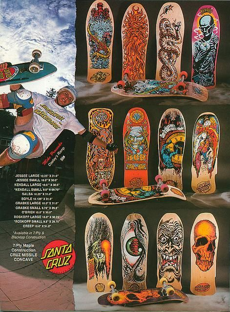 Magazine spread with Santa Cruz classics on - the Rob Roskopp face was a dream from my teenage years - #skateboarding old school