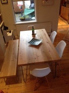 Cider Mill Pine Table Top on Hairpin Legs   Created for a family dining space, this table with matching bench was made from kentucky oak and finished with hairpin legs.  L:1.8m width: 90cm