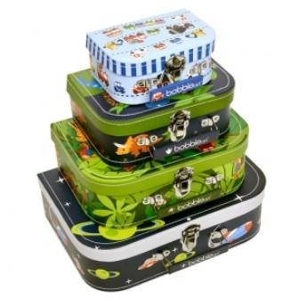 Bobble Art Suitcase Set - Transport        Price: $AU 39.95   Description:      Gorgeous Transport themed suitcase set by Bobble Art - includes four different sizes and four different designs in each set. Great for travelling, a place to stash away little treasures or even perfect as a neat storage idea.     http://www.littlebooteek.com.au/Gift-Ideas/64/catlist.aspx