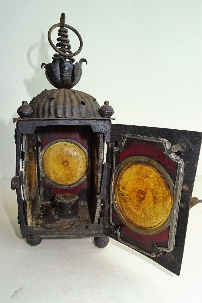 Antique 19. Jhdt.Laterne Schmiedeeisen mit Bleiverglasung Lamp leaded  | eBay
