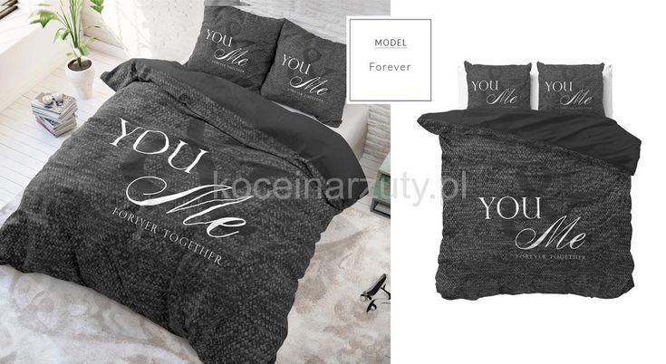 Ciemnoszara modna pościel młodzieżowa forever together 160x200