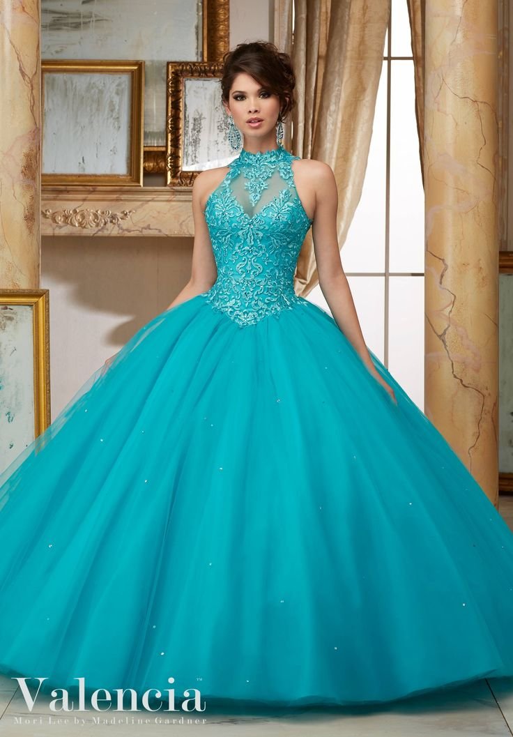 Embroidery and Beading on Tulle Ball Gown Quinceanera Dress Designed by Madeline Gardner. Matching Stole. Colors Available: Scarlet, Capri, Fairytale Pink, White