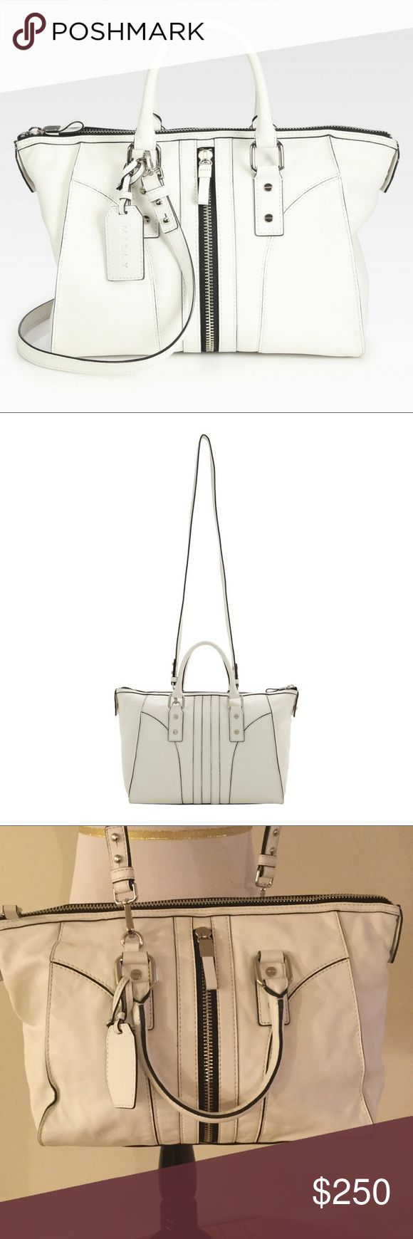 Milly Jayden Satchel White leather Jayden satchel by Milly. Carried twice, like new. Silver zip and hardware, black piping detail, rolled handles and removal crossbody strap. Interior zip plus two patch pockets. Milly Bags Satchels