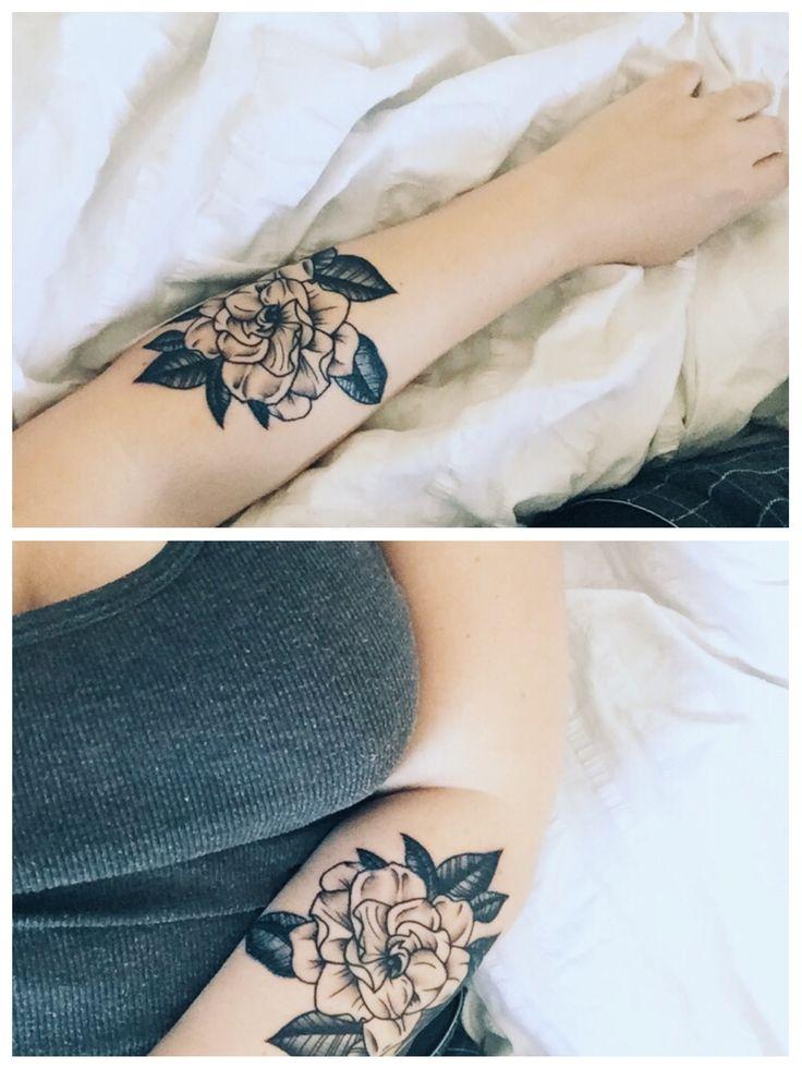 @heyashlie's black and grey gardenia floral tattoo by Tyler @ Fallen Sparrow in Florida (still healing)