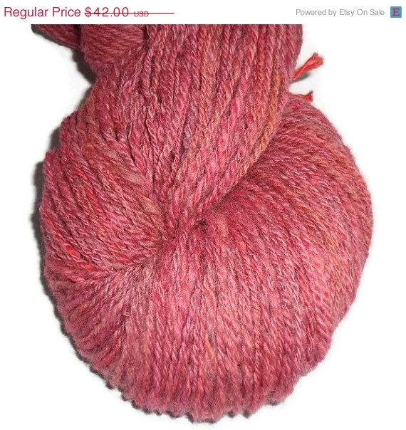 Christmas in July Handspun Hand Dyed 3-ply Soft Merino Yarn, Dusty Rose Yarn, Rose Wool Yarn, Handspun Yarn, Handpainted Wool, Rose Merino Y