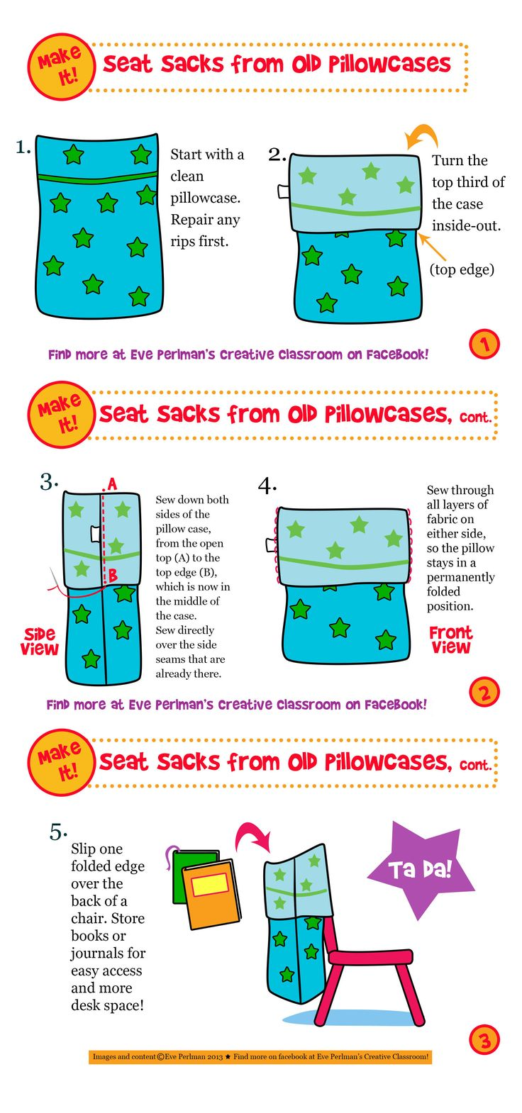 Don't spend a dime on seat sacks! Make them with four easy steps! Find more at Eve Perlman's Creative Classroom on Facebook! https://www.facebook.com/eve.perlman.1