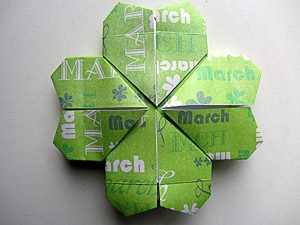 Origami four leaf clover...luck of the Irish be with you and yours ;0)