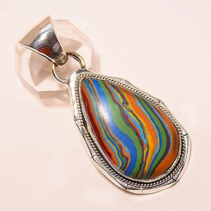 "RAINBOW CALSILICA 925 STERLING SILVER PENDANT 2.36"" in Jewellery & Watches, Fine Jewellery, Fine Necklaces & Pendants | eBay"