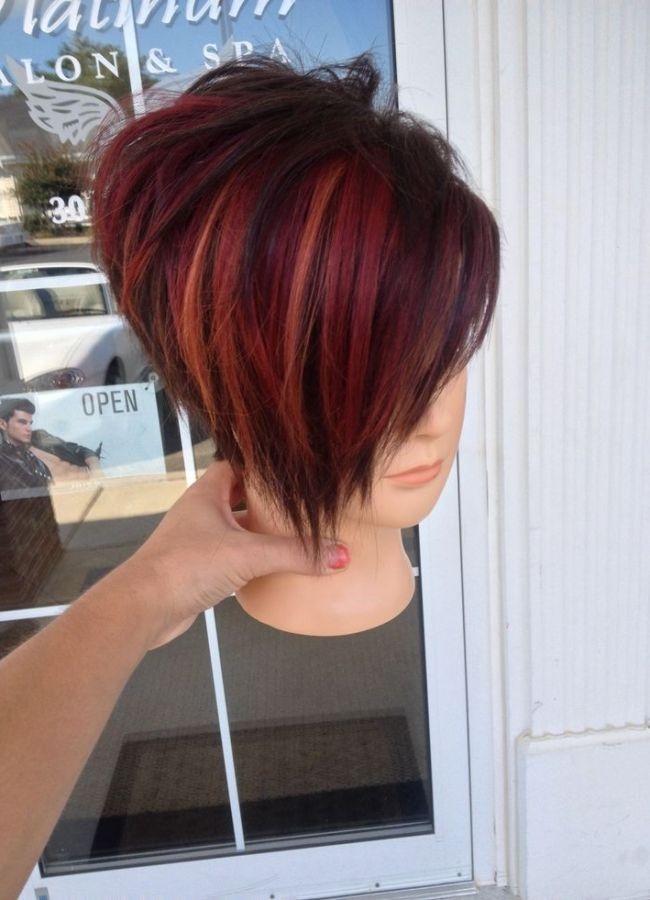 Red Highlight - Korte Kapsels