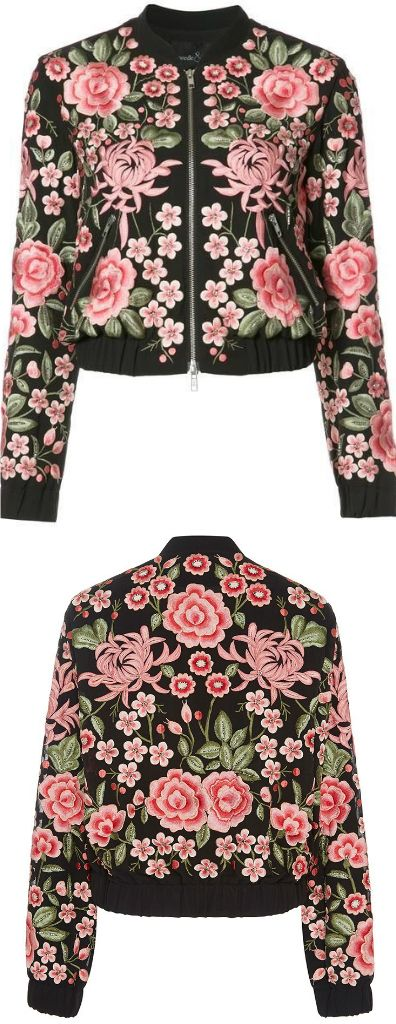 ✨✨ An Embroidered Bomber Jacket ✨✨ This Jacket exhibit brilliant colours with pink embroidered floral patterns. ✨ street fashion :: outfit ideas :: trending jacket :: embroidery jacket :: Fashion trends :: hippie chic :: modern vintage, gypsy style :: boho chic :: hmong ethnic :: street style :: geometric :: floral outfits :: embroidery trend :: spring outfit :: autumn outfit :: trending outfit