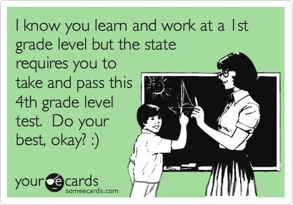 Yep, this describes the state standardized test I'm getting ready to administer next week to a T.