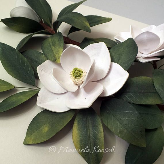 White Magnolia Flowers Botanical Illustration Wall Art White Green Decor Quilled Paper Magnolia Paper Wedding Anniversary Gift For Her Paper Wedding Anniversary Gift Wedding Paper Paper Quilling Flowers
