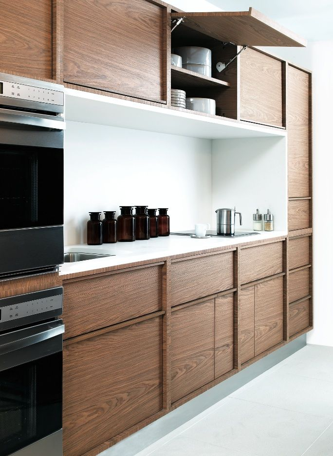 Wood Cabinets With White Counter Inset