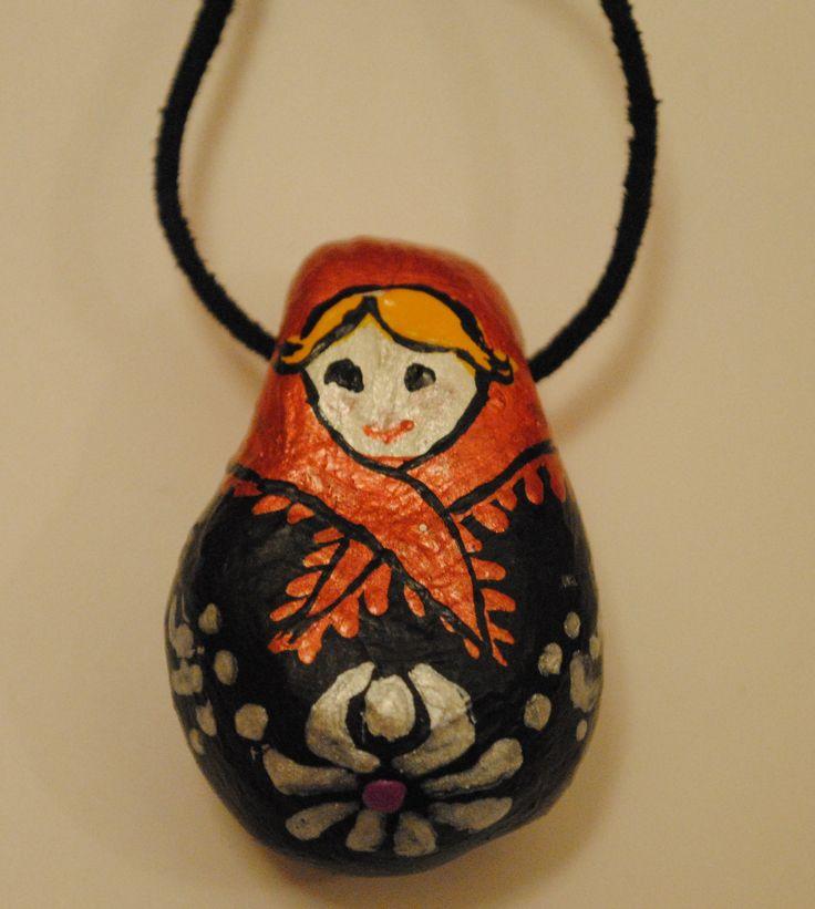 matrioshka doll necklace from air dry clay