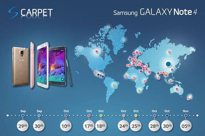 Samsung Memperlihatkan Peta Peluncuran Global Galaxy Note 4