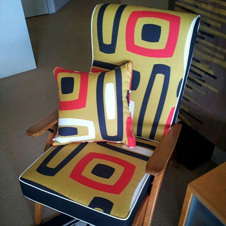MANHATTAN MOODS Bringing in a bit of #newyork #style with #ManhattanOlive #fabric on a classic #australian #tvchair . Fabric online @socialfabric.com.au #upholsteryfabric #furnishingfabric #midcenturymodern #retrofabrics #decor #australianmade #brisbaneTextile #designs #LynneTanner