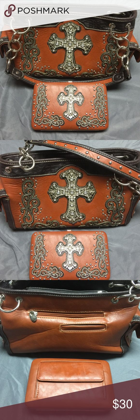 Western purse with matching wallet Brown western purse with cross and matching wallet. Used excellent condition Star4447 Other