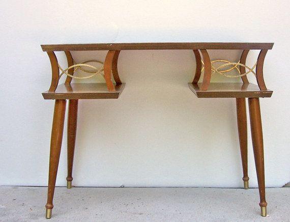 Mid Century Modern Console Table    Vintage Wooden Sofa Table   Peg Legs.