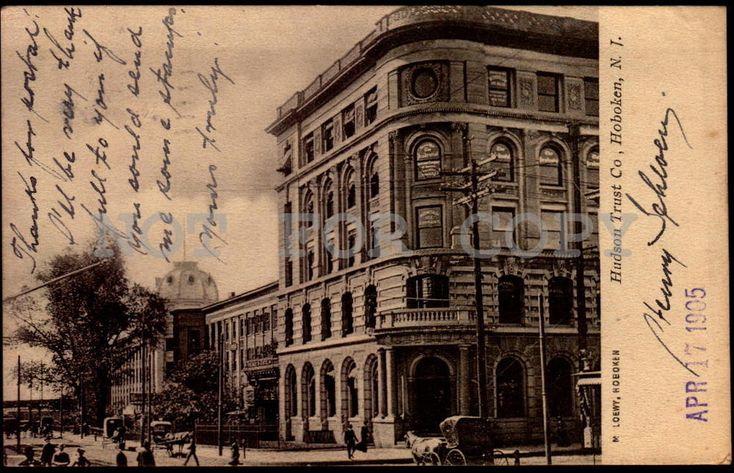 Hudson Trust Co. Hoboken NJ New Jersey vintage original ca1900 postcard
