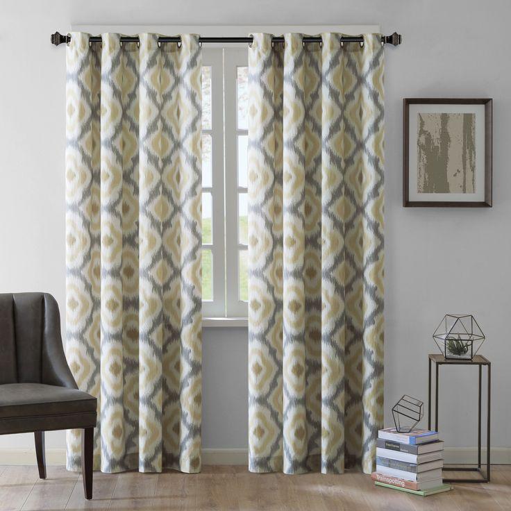 Ink+Ivy Ankara Cotton Printed Curtain Panel (84-Yellow), Yellow, Size 50 X 84