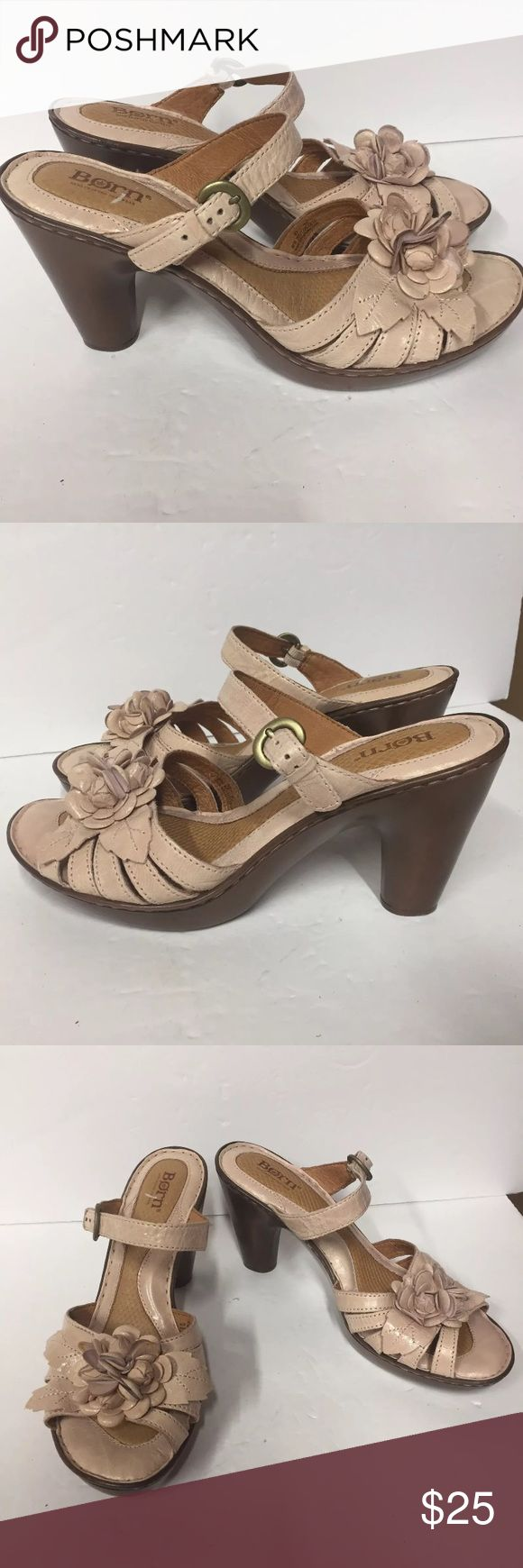 Born Woman's Pink Heeled Floral Leather Sandals 10 Woman's Born pink floral heeled sandals size 10. Good pre owned condition. Has a few faint stains on the floral petals . See photos. Comes from a smoke free home. Born Shoes Sandals