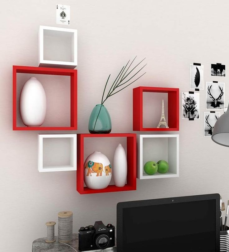 DecorNation Wall Shelf Set Of 6 Nesting Square Red White by DecorNation Online - Wall Shelves - Home Decor - Pepperfry Product