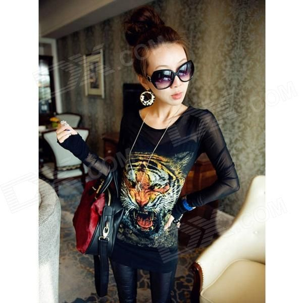 Fashion Tiger Pattern Cotton + Mesh Yarn Long-sleeve Bottoming Shirt for Women…