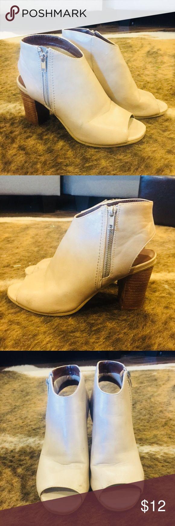 Nude Zip up Booties Nude zip up open toe & heel booties slightly worn Shoes Ankle Boots & Booties