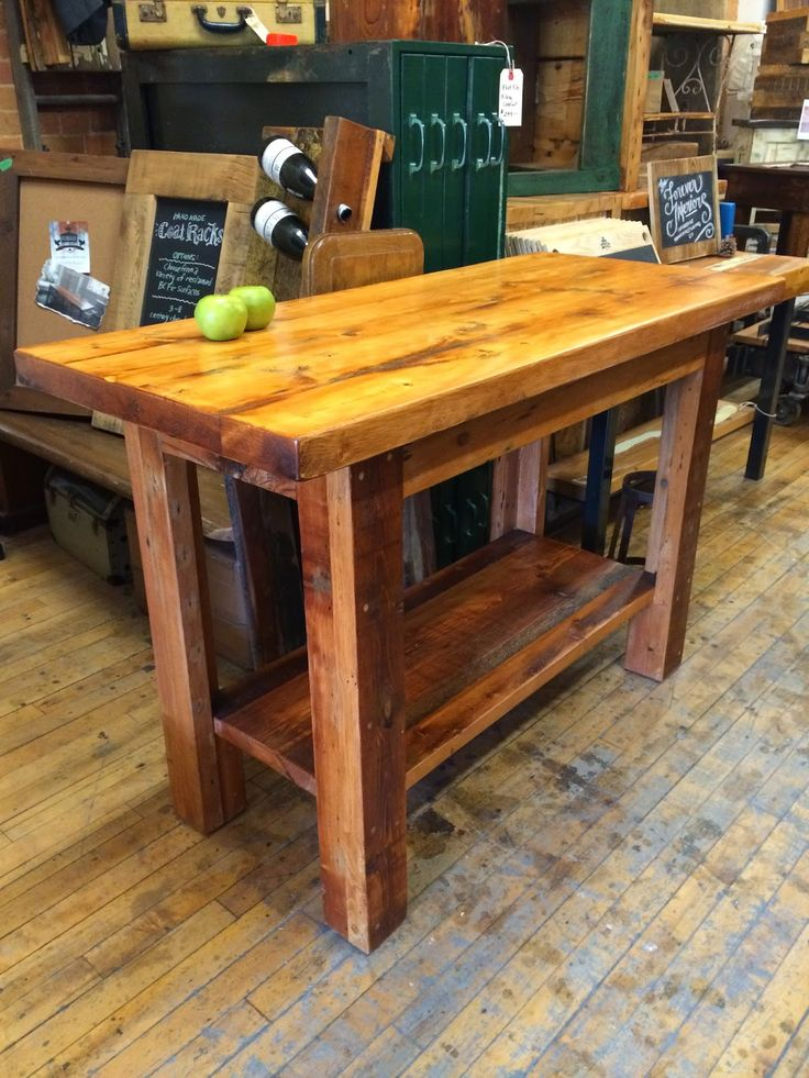 Junction Island in a beautiful Golden Pecan Stain made from reclaimed BC fir from historic Toronto houses