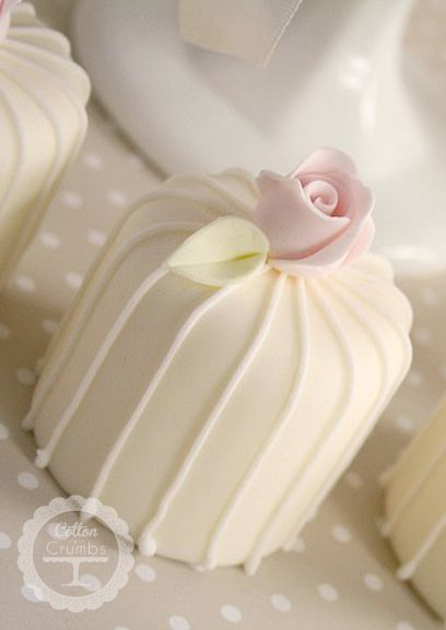 Stripes and Rosebud Mini Cakes. An elegant twist to the traditional petit fours. Lovely!