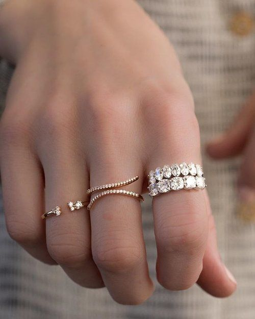 FRIDAY! Time to pull the big bands out  Featured: Shared Prong Cushion wedding band and Oval wedding band • Nebula Wrap stacker • Diamond Cluster gap stacking ring  DM/email for inquiries  tag your boo