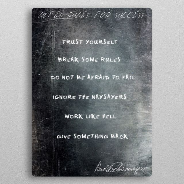 Lifes Rules For Success Text Art Poster Print Metal Posters