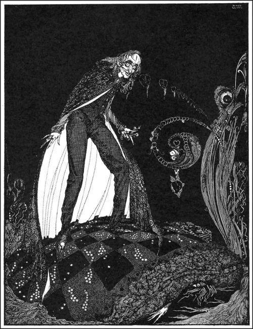 """Но, в течение многих минут, сердце биться дальше с приглушенным звуком.  Гарри Кларк, Иллюстрация к """"Сердце-обличитель"""" от Рассказов Эдгара Аллана тайны и воображения, 1923 (источник)."""
