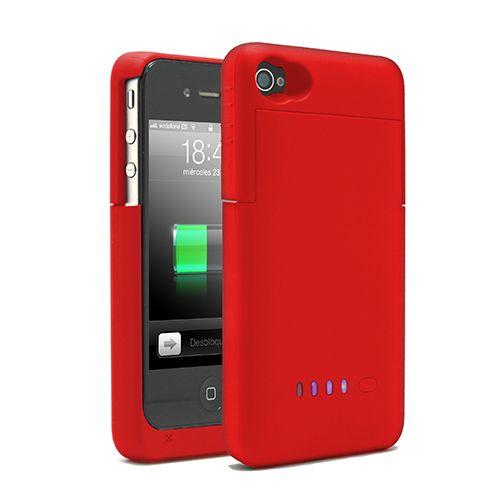 BATERIA FUNDA PARA IPHONE4/4S ROJA 32.0027Batería funda para iPhone 4/4S. Recarga tu batería en esos momentos en que no tienes acceso a la red eléctrica. Se acopla perfectamente al tamaño de tu iphone4 y además te servirá de funda para evitar que tu iphone se raye o lastime. Características Capacidad: 1900 mAh/2000mAh. Entrada: 5V --- 500mA. Salida: 5V --- 700MA. Tamaño: 125 * 62 * 18cm. Color: Rojo Tipo de batería: Li-ion de alta calidad. Contenido Batería funda para iPhone 4 y 4S