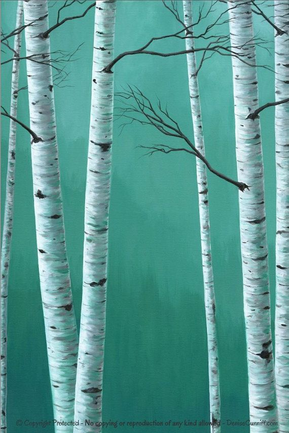 Teal green decor Large wall art Birch tree by ArtFromDenise