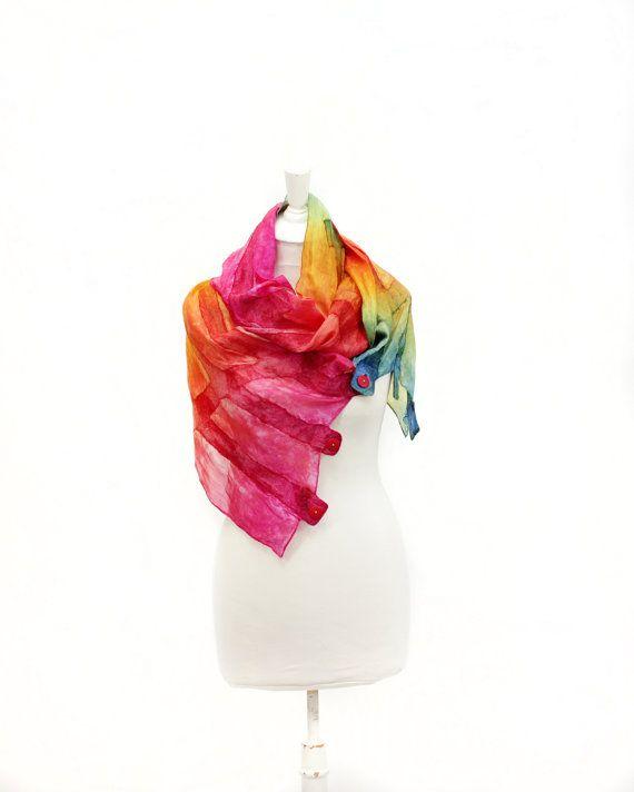 foulard en soie écharpe de feutre main foulard par KateRamseyFelt