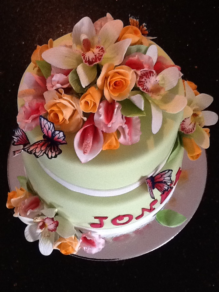 Birthday cake with gum paste butterflies
