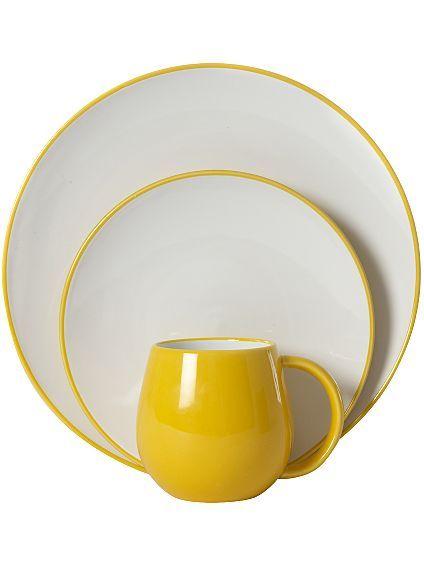 yellow + White dinnerware - WOW my kitchen needs these!